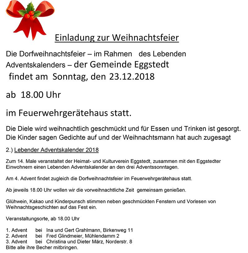 Beitrag Zur Weihnachtsfeier.Einladung Zur Weihnachtsfeier Gemeinde Eggstedt